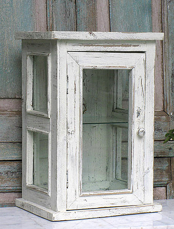 distressed wood and glass display cabinet