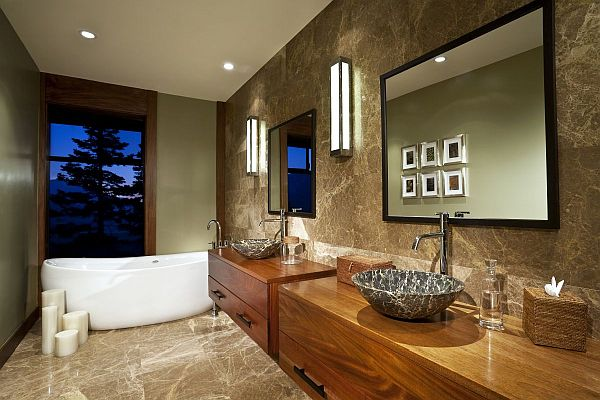 Elegant Granite Bathroom With Wooden Vanities Decoist