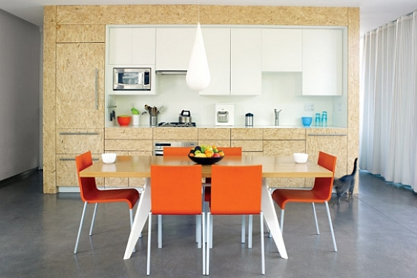 flakeboard kitchen furniture with colorful dining space
