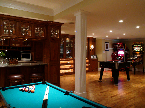 Game Room Design Ideas view in gallery use a mirror to create more visual space in the game room Liked