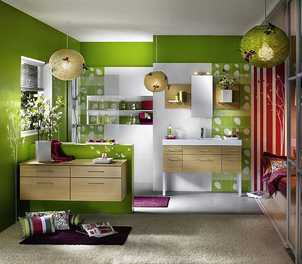 green and white bathroom with wooden vanities and rug