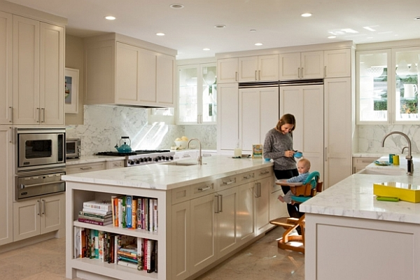 highly functional family kitchen with white cabinets and island