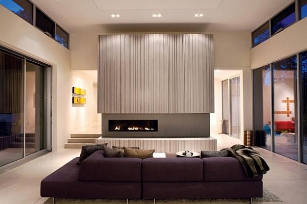 Highly modern living room with sliding glass pocket doors for Modern living room concepts