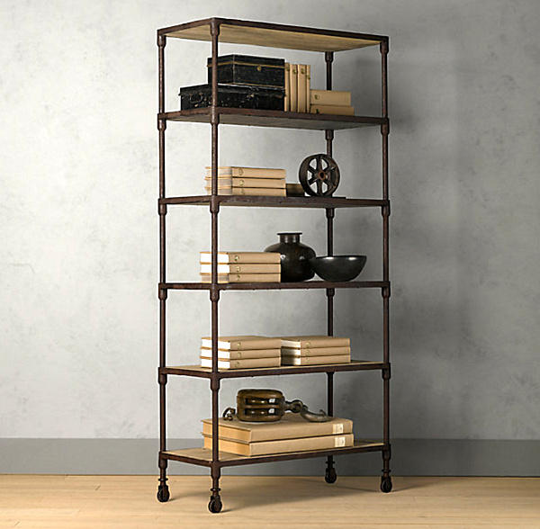 25 sleek industrial furniture finds for Diy industrial bookshelf