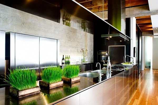 industrial kitchen design with stainless steel furnishings