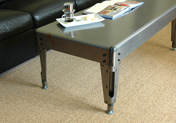 25 sleek industrial furniture finds Industrial metal coffee table