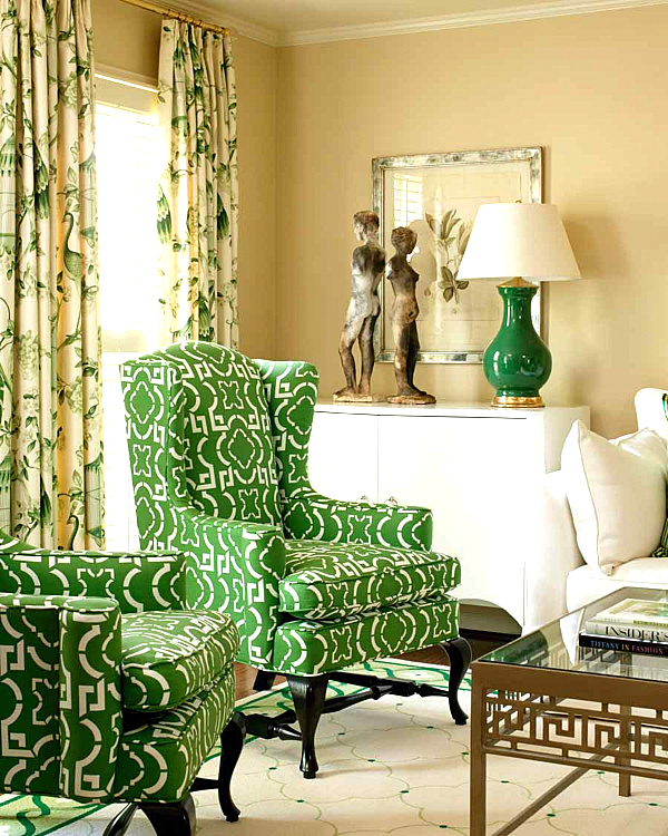 Kelly Green Can Easily Go Tropical, As In This Next Palm Beach Style  Interior. Rattan Furniture And A Leafy Potted Plant Add To The Upscale  Breezy Vibe.
