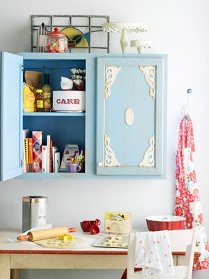 kitchen furniture facelift with appliques and paint