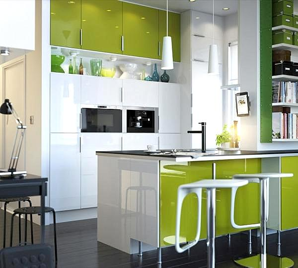 lime green and white modern kitchen