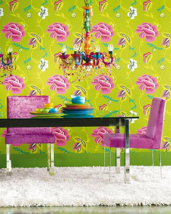 lime green dining room wallpaper