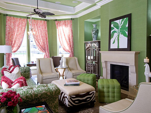 Shades of green a verdant spring decorating palette Green colour living room
