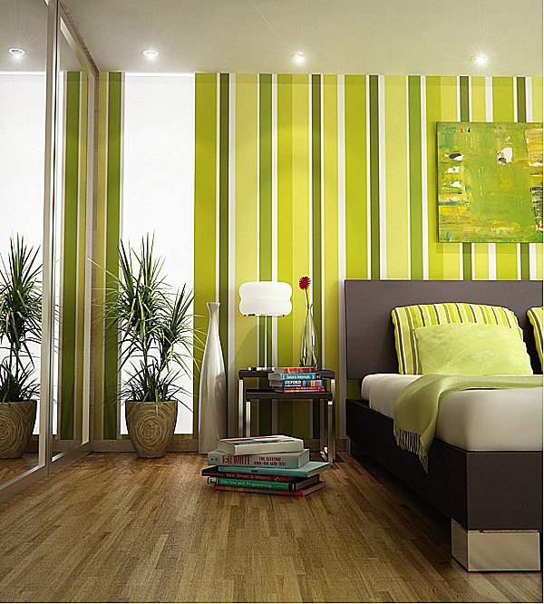 Lime green striped decoist for Lime green bedroom designs