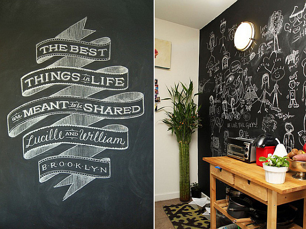 Living space chalkboard wall paint decoist for Blackboard design ideas