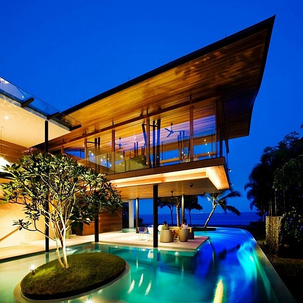 luxurious mansion with fancy pool design