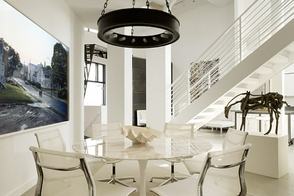 Decorating with bright modern white for Dining room decorating ideas 2012