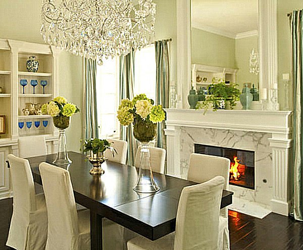 Mint green dining decoist for Green dining room