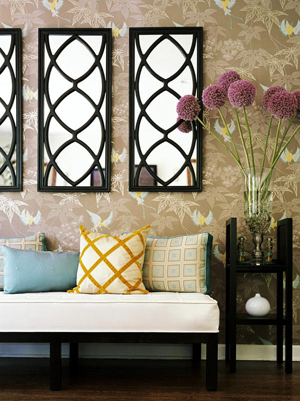 How to use mirrors to make rooms look larger for Long wall hanging mirrors