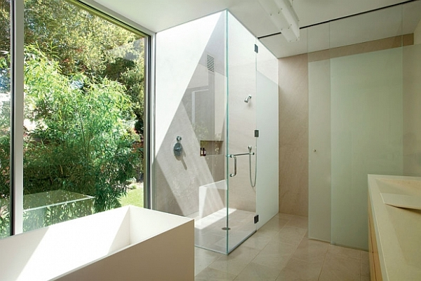 modern bathroom design with glass walls