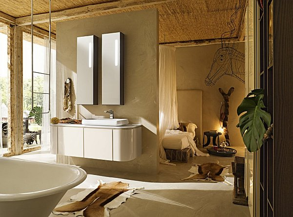 modern bathroom with ceramic vanities