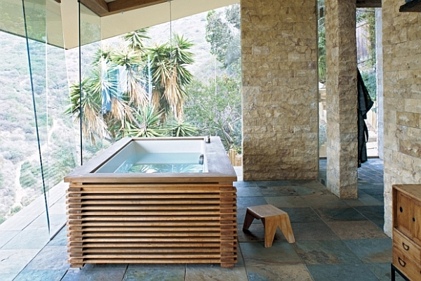 modern bathroom with free standing tub and amazing views 19 Tastefully Elegant Bathroom Designs