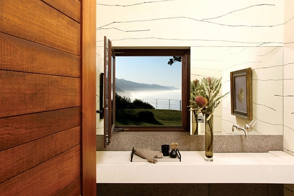 modern bathroom with mirror and window