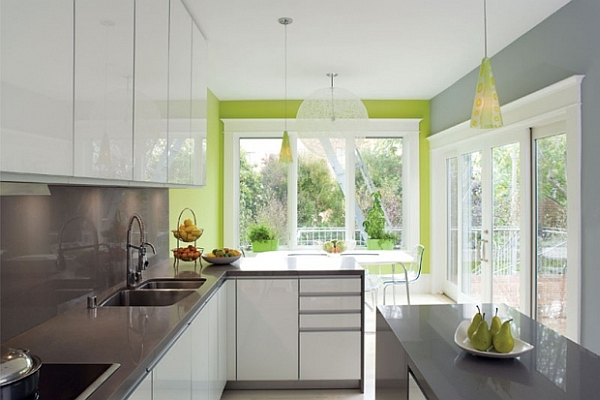 modern grey and white kitchen decor with neon-green accents