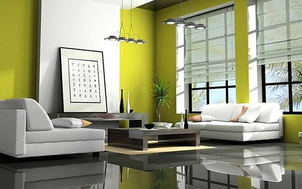 turquoise and lime green living room home interior design