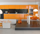 modern orange colored kitchen decor pictures