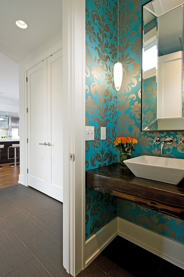 modern powder room with blue wallpaper