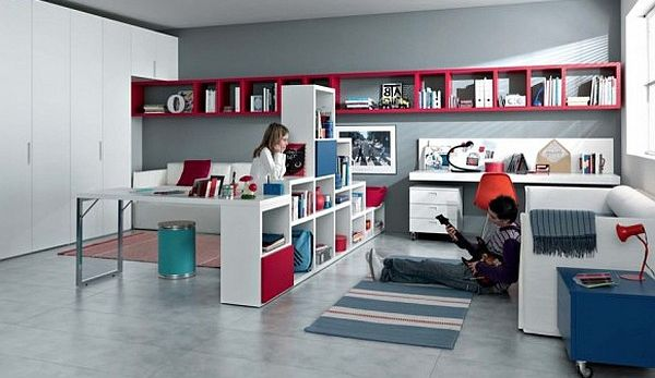 modern teen room – red, blue and white furniture with shelves, sofa and office desk