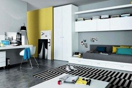 modern teenagers room - mustard, white and yellow furniture