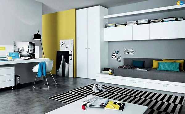 modern teenagers room mustard white and yellow furniture Teen Rooms Designs: How to Catch Up With Change