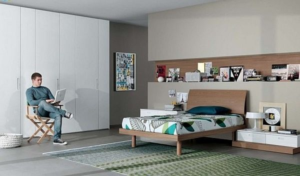 modern teenagers room – neutral colors furniture