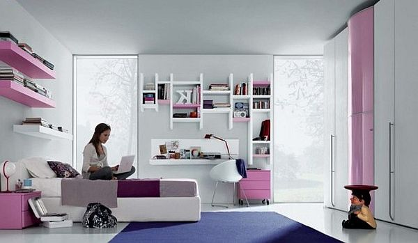 Modern Teenagers Room Pink Purlpe And White Furniture Ideas