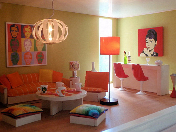 orange living room decoration pictures