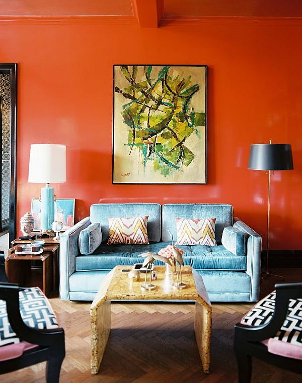 orange wall in fancy living room