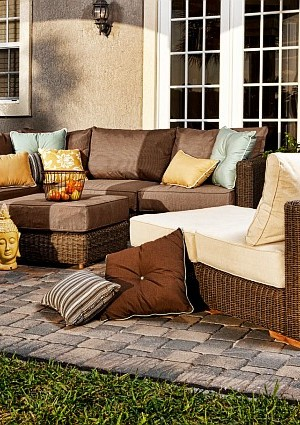 outdoor sofa with pillows