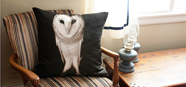 owl pillow cushion for rustic interiors