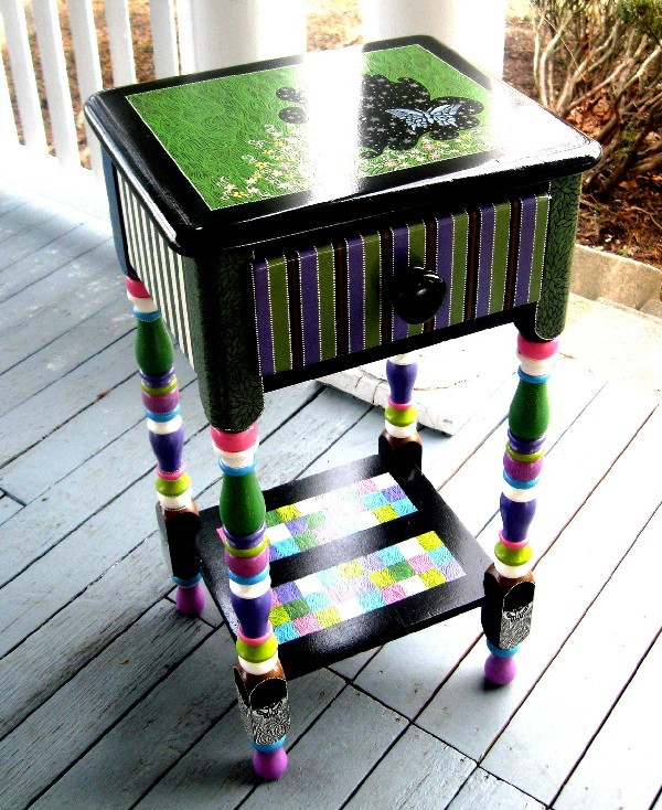 painted repurposed table with appliques