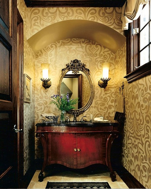 Guest bathroom powder room design ideas 20 photos - Powder room wallpaper ideas ...