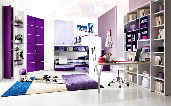 purple-teen-room-with-colorful-rug