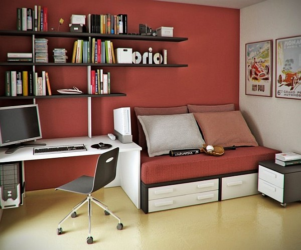 read white teen workspace decor