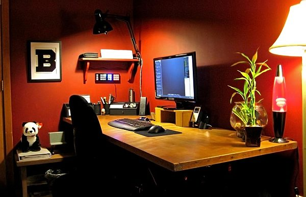 red walls home office desk If Walls Could Talk: Giving Your Room Self Expression By Way of Color