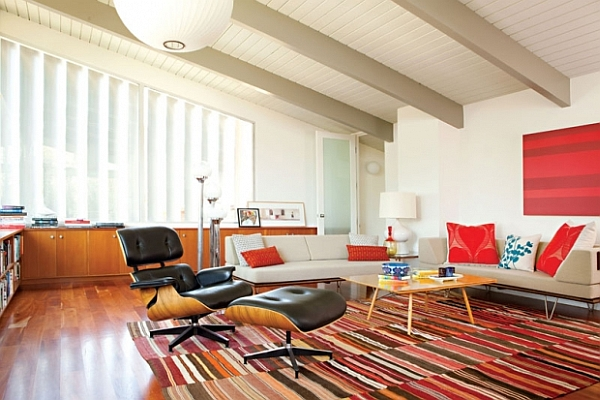 retro living room with modern accents