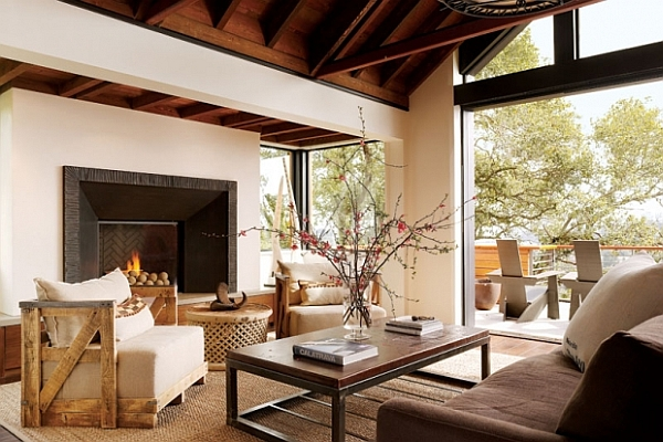 rustic living room with fireplace and wooden furniture