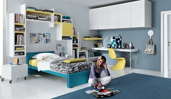 simple teenagers room - blue, yellow and white furniture
