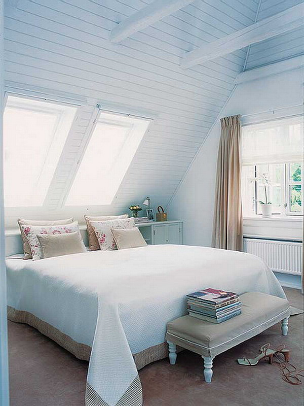soft blue attic bedroom decoration Best Paint Colors for Small Spaces