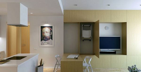 space saving wonderful small apartment design 1 Concealed & Fold Away Furniture for this Awesome Apartment Interior Décor by Oleg Trofimov