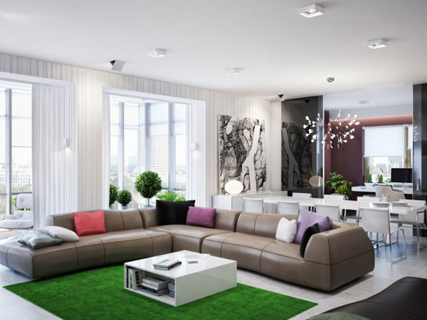 spacious modern ukranian apartment 1 large l shaped sofa Luxurious Apartment in Ukraine Showcases sleek organization and stylish design