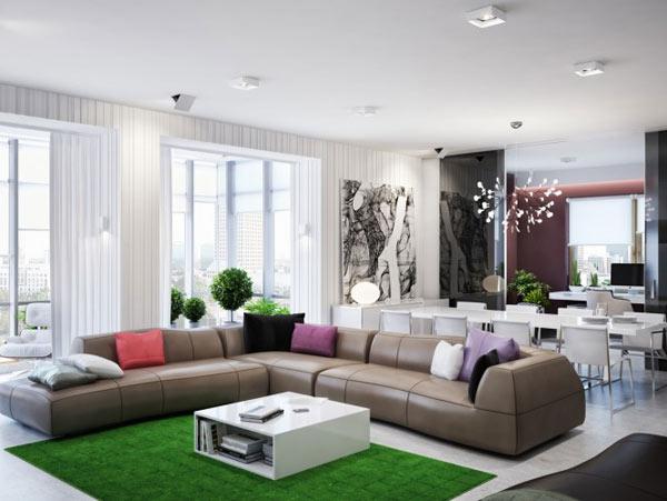 spacious modern ukranian apartment 1 - large l shaped sofa